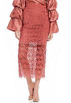 Keepsake Stay Close Lace Midi Pencil Skirt