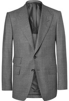 Tom Ford Grey Slim-fit Prince Of Wales Checked Wool Suit Jacket - Gray