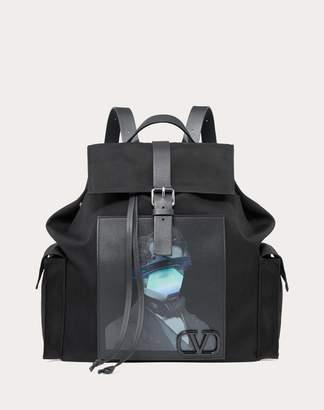 Valentino Garavani Uomo Garavani Undercover Backpack Man Black Polyester 45%, Polyamide 39%, Polyurethane 16% OneSize