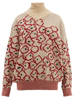 Toga Floral-jacquard Mohair-blend Sweater - Womens - Red Multi