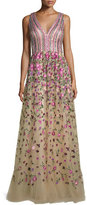 David Meister Sleeveless Sequined & Embroidered Ball Gown, Nude/Rose