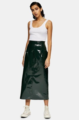Topshop Womens **Forest Green Vinyl Leather Skirt By Forest