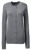 Lands' End Women's Regular Cotton Modal Contrast Trim Cardigan Sweater-Pewter Heather