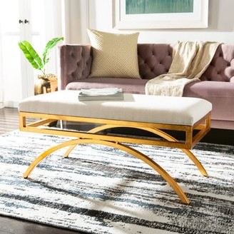 Willa Arlo Interiors Ostrich Faux leather Bench Upholstery Color: Light Beige