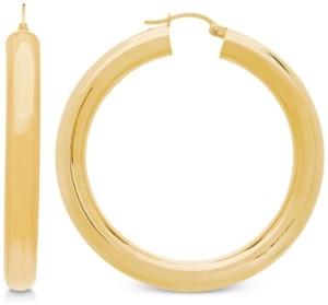 Italian Gold Polished Tube Hoop Earrings in 14k Gold