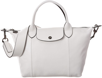 Longchamp Le Pliage Cuir Small Leather Logo Strap & Short Handle Tote