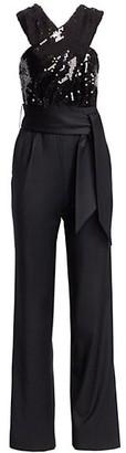 Carolina Ritzler Crossover Sequin Belted Jumpsuit