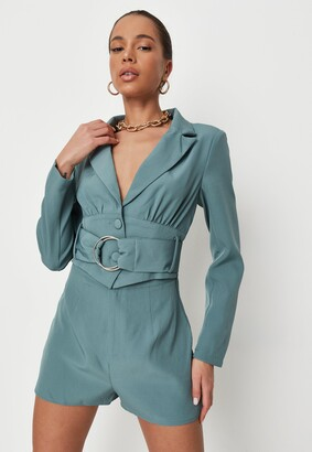 Missguided Blue Tailored D Ring Belted Playsuit