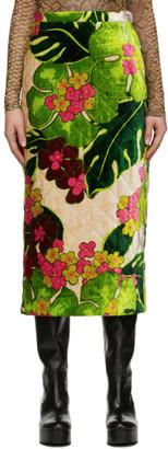 Dries Van Noten Green Velvet Quilted Floral Skirt