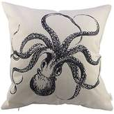 "HOSL P10 Decorative Cotton Linen Square Throw Pillow Case Cushion Cover Throw Pillow Shell Pillowcase for Sofa Octopus 18 ""X18 """