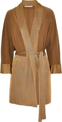 Agnona Belted Silk Crepe De Chine And Knitted Cardigan