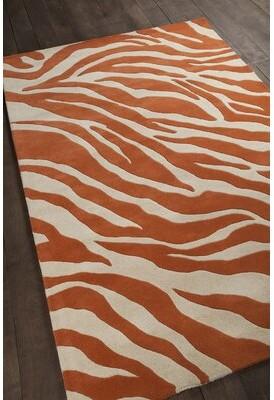 "Bloomsbury Market Everlee Patterned Contemporary Wool Hand-Tufted Orange/White Area Rug Bloomsbury Market Rug Size: 5' x 7'6"""