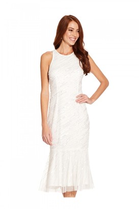Adrianna Papell Beaded Cocktail Dress In Ivory