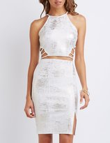 Charlotte Russe Foil Knit Caged Crop Top