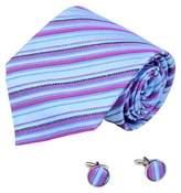 A2113 Blue Stripes Mens Ties Lot Purple Birthday Gift Ideas 2PT By Y&G