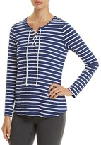 NYDJ French Terry Stripe Lace-Up Top