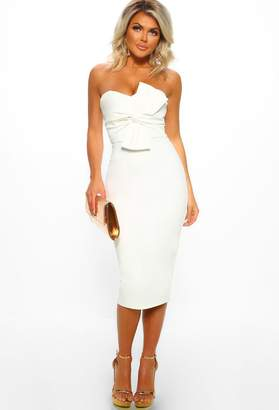 Pink Boutique Knots Over You White Twist Front Strapless Midi Dress