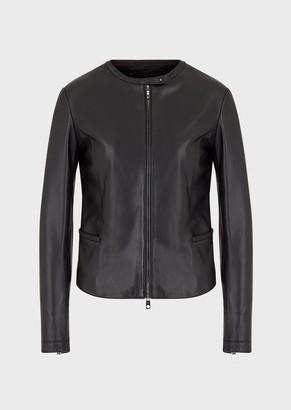 Emporio Armani Glove-Quality, Lambskin Nappa Leather Jacket With Zip