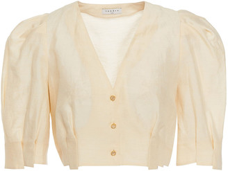 Sandro Fania Cropped Linen-blend Shantung Top