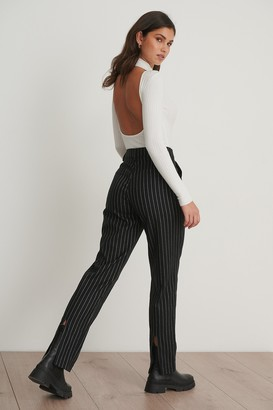 Chloé B X NA-KD Pinstriped Back Slit Suit Pants