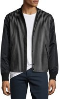Rag & Bone Irving Striped Bomber Jacket with Leather Sleeves, Black/White