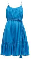 Rhode Resort Nala Ruffle-trim Cotton-voile Mini Dress - Womens - Blue
