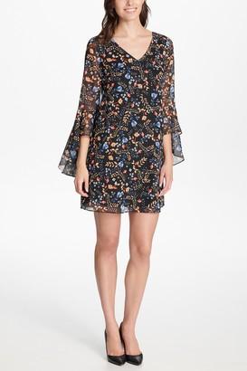 Kensie Floral Bell Sleeve Criss-Cross Back Mini Dress