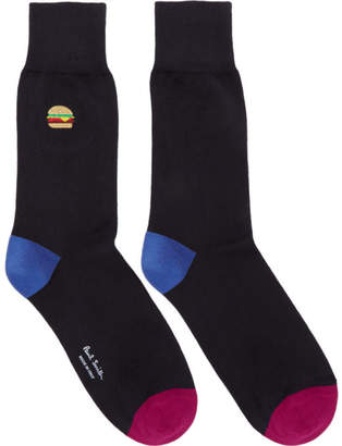 Paul Smith Navy Embroidered Burger Socks