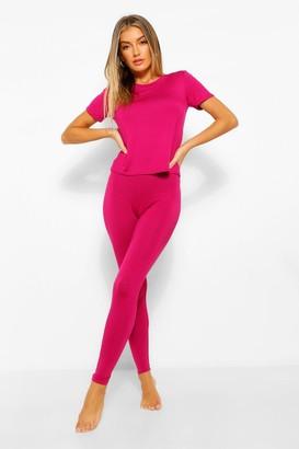 boohoo Basic T-shirt & Legging Soft Jersey PJ Set