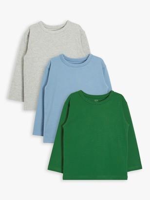 John Lewis & Partners Boys' Long Sleeve T-Shirts, Pack of 3, Green/Multi