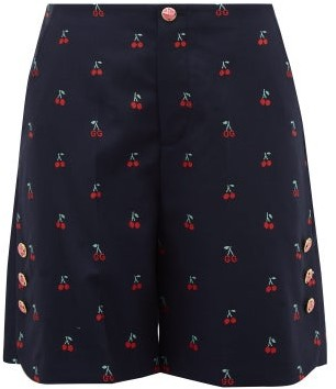 Gucci Cherry Fil-coupe Cotton-blend Shorts - Womens - Navy Multi