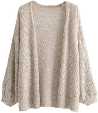 Goodnight Macaroon 'Catherine' Mixed Knit Open Cardigan (3 Colors)