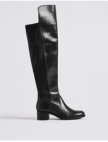 M&S Collection Leather Block Heel Over the Knee Boots