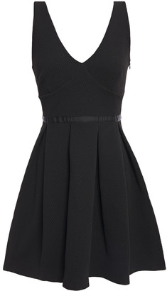 Claudie Pierlot Pleated Grosgrain-trimmed Pique Mini Dress