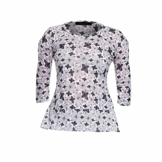 Philosofée By Glaucia Stanganelli Charcoal Floral Print Back Pleat Modal T-shirt