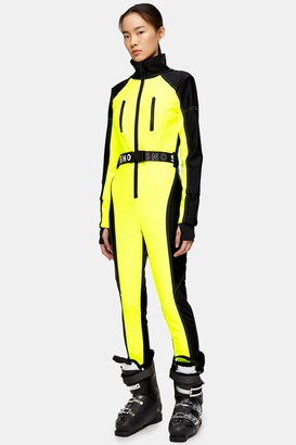Topshop Neon Yellow Fitted Ski Snow Suit by SNO