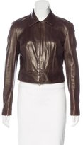 Donna Karan Long Sleeve Leather Jacket