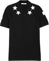 Givenchy Black Star-appliquéd Piqué Cotton Polo Shirt