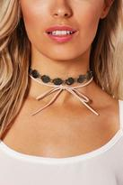Boohoo Lacey Boho Coin And Suedette Tie Choker Set