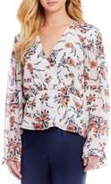 June & Hudson Floral Printed Wrap Long Sleeve Top