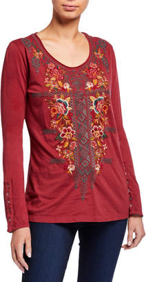 Johnny Was Plus Size Zaret Button-Sleeve Embroidered Front Tee