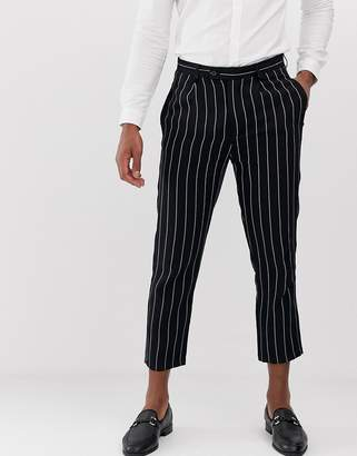 Devils Advocate slim fit linen pinstripe pleated cropped trousers-Navy