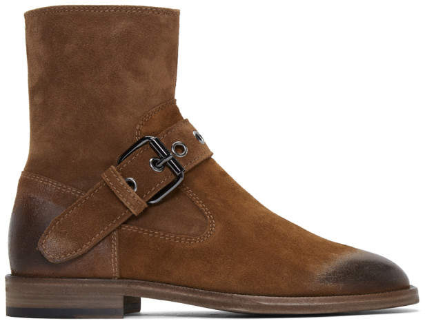 Maison Margiela Brown Buckle Ankle Boots