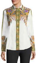 Etro Placed Paisley-Print Poplin Shirt