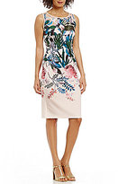 Adrianna Papell Leafy Oasis Printed Scuba Sheath Dress