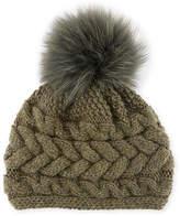 Inverni Cashmere Cable-Knit Beanie w/ Fur Pompom