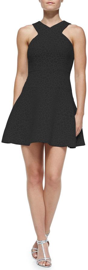 Tibi Rime Jacquard Flirty Fit-and-Flare Dress