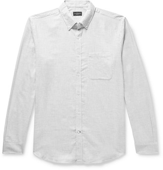 Club Monaco Slim-Fit Button-Down Collar Puppytooth Cotton-Flannel Shirt