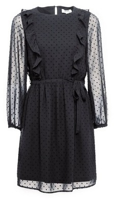 Dorothy Perkins Womens Petite Black Dobby Ruffle Fit And Flare Dress, Black