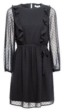 Dorothy Perkins Womens Dp Petite Black Dobby Ruffle Fit And Flare Dress, Black